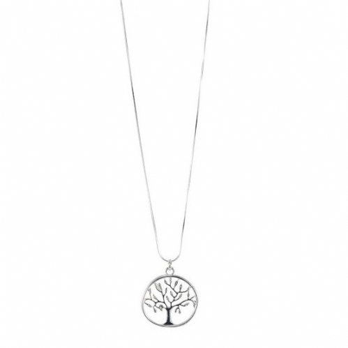 Bisoux Long Tree of Life Necklace in Silver with Diamantes